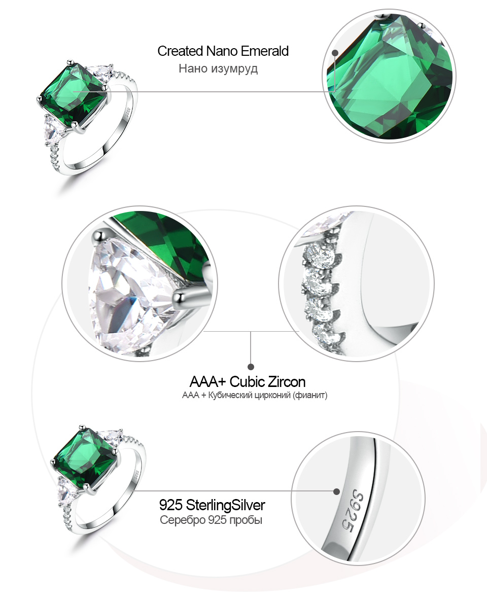 UMCHO Emerald  925 sterling silver rings for women NUJ092E-1 -pc (7)