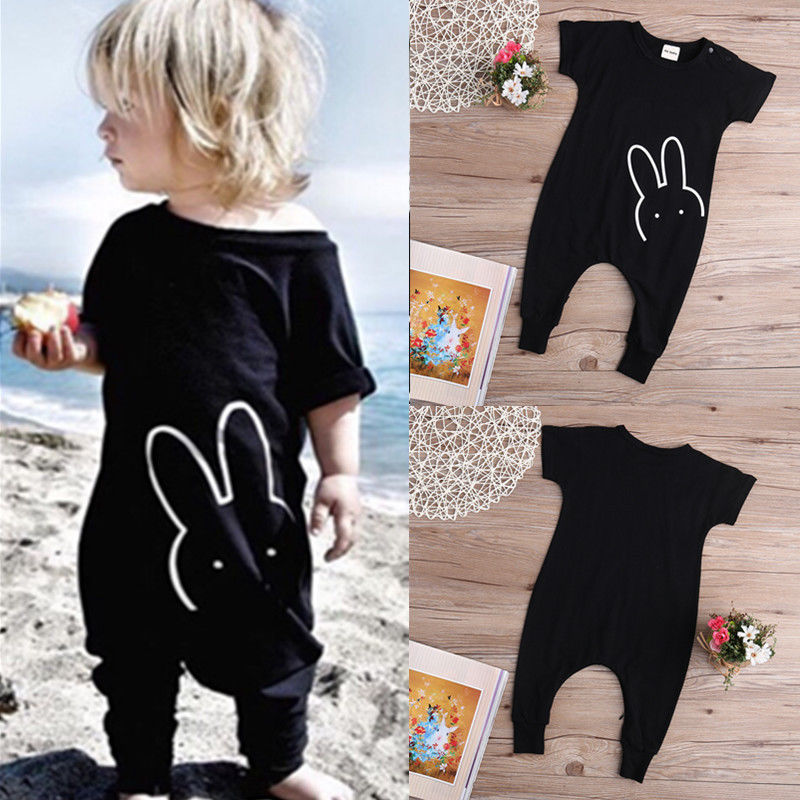Cotton Rabbit Bunny Romper Jumpsuit Bodysuit 2016 Newborn Kids Baby Boy Girl Clothing Black Cotton Clothing Boys Girls
