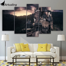 5 piece canvas painting Germany vintage castle cloudy HD poster and print for living room free shipping XA-1830A