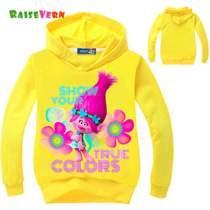Raisevern 2017 Children's Jacket 3-12Y Kid girls Long Sleeve Hoodie Clothes Trolls Magic Wizard Cartoon Print Sweatshirts Tops