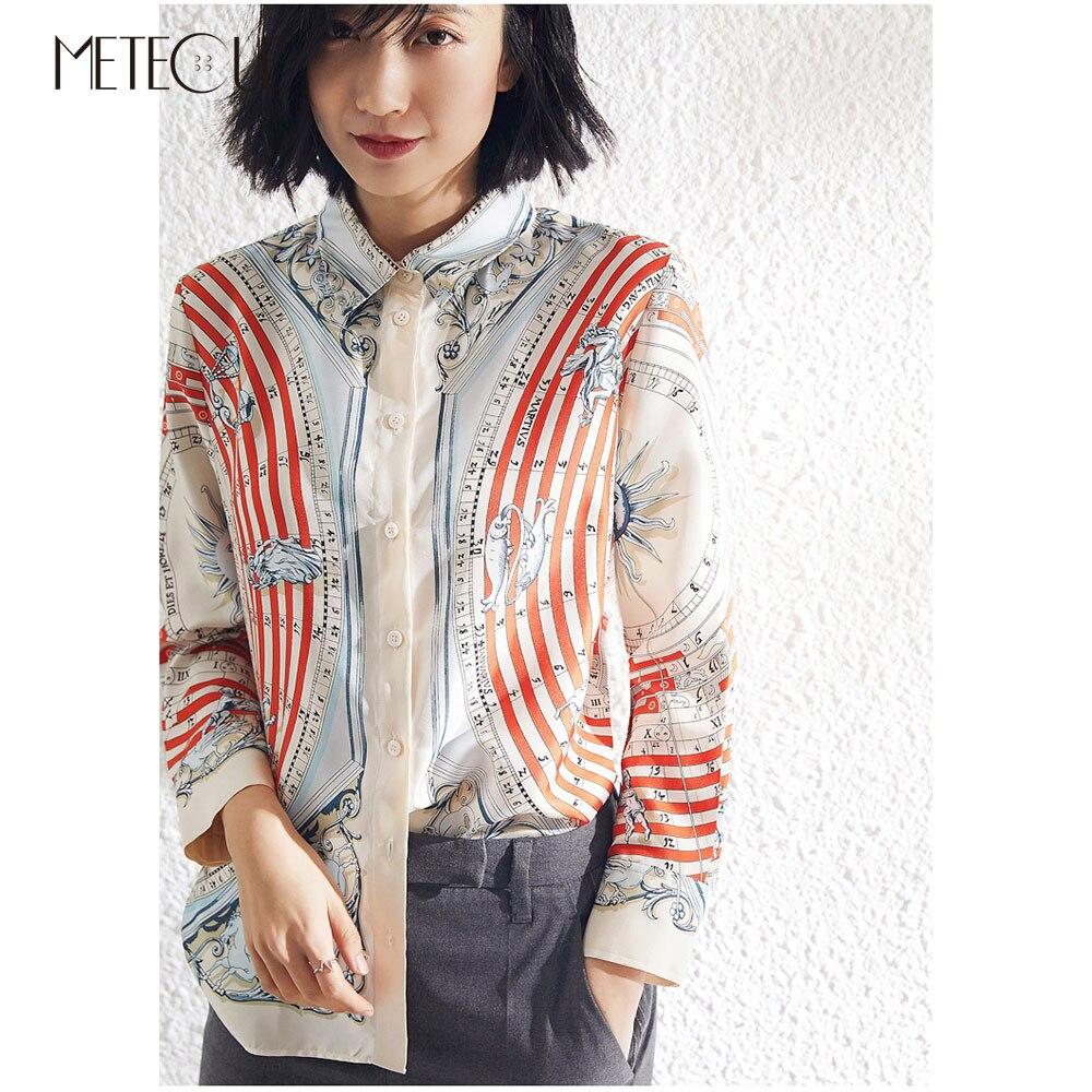 100% шелк печатных дамы кимоно 2019 Pre Весенняя мода 18 Mommie с длинным рукавом женская блузка и рубашки для мальчиков 2019 сезон: весна лето