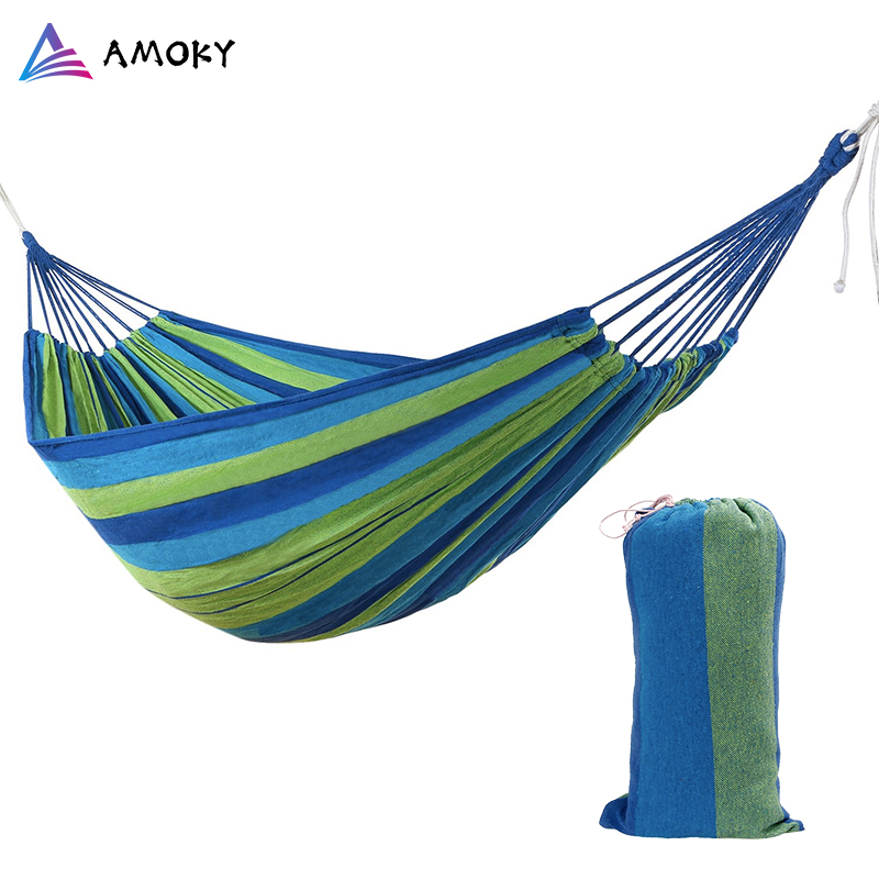 Single Person Travel Camping Hanging Hammock Strong Outdoor Picnic Garden Hammock Hang Bed Swing Canvas Stripe Hang Bed Hammocks