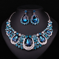 Индийская мода Ювелирные Изделия Индийский Кристалл Ожерелье Серьги Свадебные Украшения Наборы Для Невесты Партии Свадебные Аксессуары Украшения