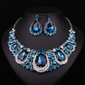Fashion Indian Jewellery Indian Crystal Necklace Earrings Bridal Jewelry Sets For Brides Party Wedding Accessories Decoration