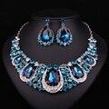Moda Joyería India Indio Pendientes Cristalinos Del Collar Nupcial Conjuntos de Joyas Para Novias Accesorios Del Banquete De Boda Decoración