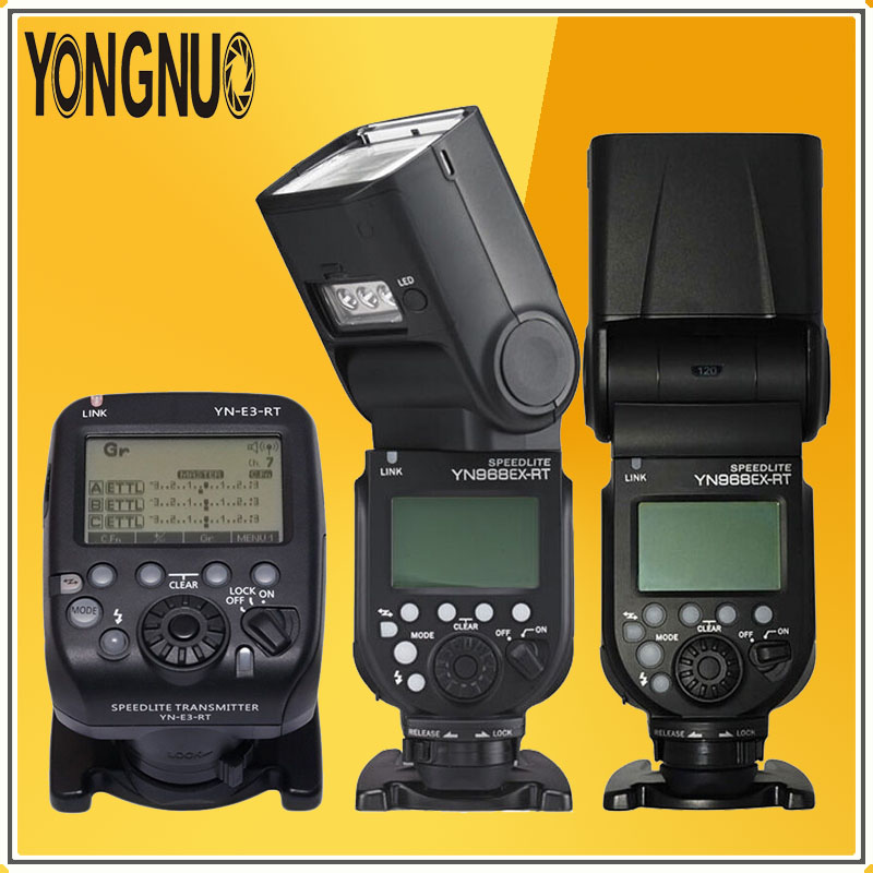 YONGNUO 2*YN968EX-RT LED Wireless Flash Speedlite Master TTL HSS + YN-E3-RT Flash Speedlite Transmitter For Canon Digital Camera yongnuo yn e3 rt 2 4g 16 ch wireless speedlite transmitter black 2 x aa