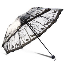 110cm Personality Three Folding Rain Umbrella Women Transparent Printing Windproof Umbrellas for
