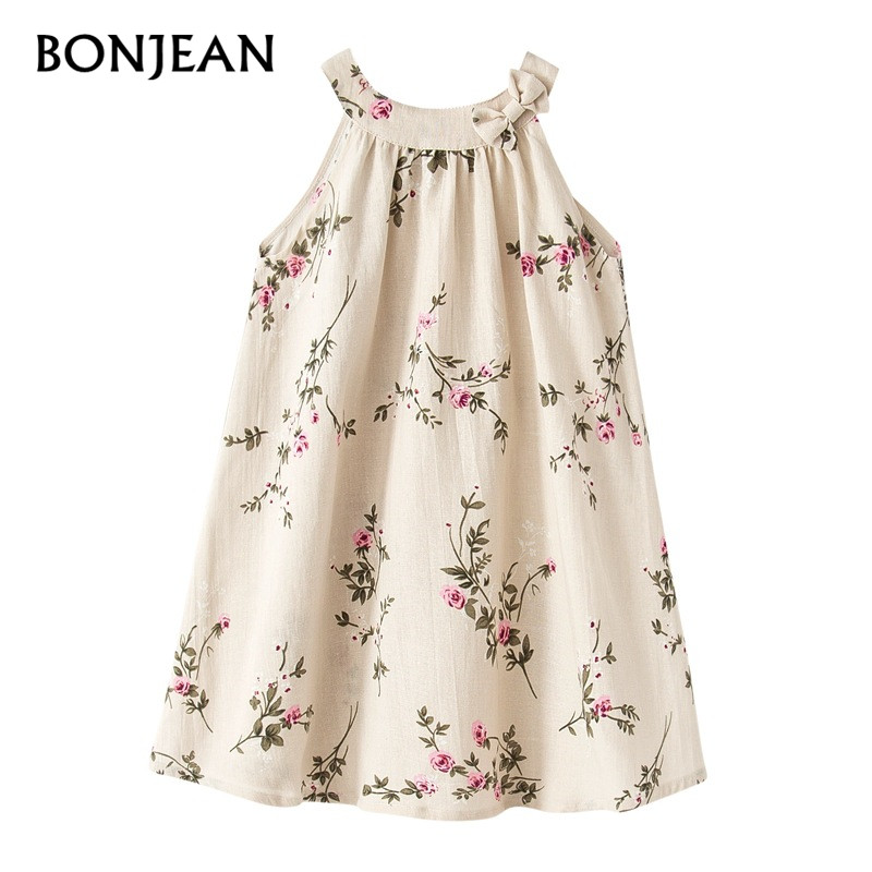 d079343cfa9 1 to 10 years summer baby girls linen Sleeveless vest Teenage Dress floral  print Kids girl dresses Costume children clothing