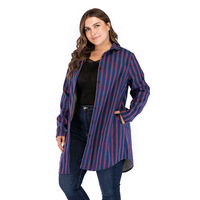 Women Autumn Striped Loose Plus Size Shirts Full Sleeve Single Breasted Lapel Vintage Thick Velvet Blend Cotton Long Tops L 5XL