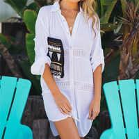 2019 Summer Women Beach Wear Cover-ups White Cotton Tunic Bikini Wrap Skirt Swimsuit Cover Up Bath Dress Sarong plage pareo