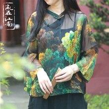 中国スタイルパッチワークブラウスシースルーショートトップ女性カジュアルトップス基本カジュアルトップレトロ斜めラペル印刷blusas