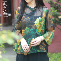 Chinese style patchwork blouse see through short top Women Casual Tops Basic Casual Top retro slanting lapel printing Blusas