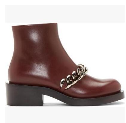 Botas Mujer haute qualité chaîne en métal doré bottine talon épais noir marron blanc cuir gladiateur sandales bottes livraison gratuite - 2