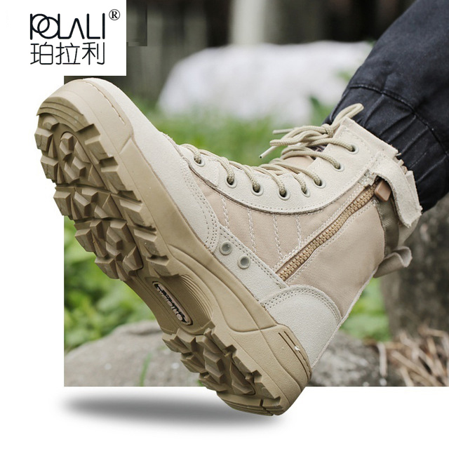 57322507960c Men Tactical Military Army Boots Breathable Leather Mesh High Top Casual  Desert Work Shoes Mens SWAT Ankle Combat Boot