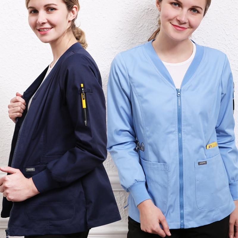Kinetic Men And Women's Scrub Jacket Uniform Nursing Tops Long Sleeve V Neck Medical Clothes Warm-Ups Nurse Coats