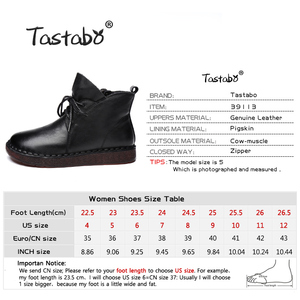 Image 4 - Tastabo Lace up Women Genuine Leather Ankle Shoes Flat with Vintage Lady Shoes Retro Solid Black Ankle Boots for Women