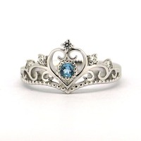 Wellmade Solid 925Sterling Silver Crown Ring,Queen Ring, Princess Ring