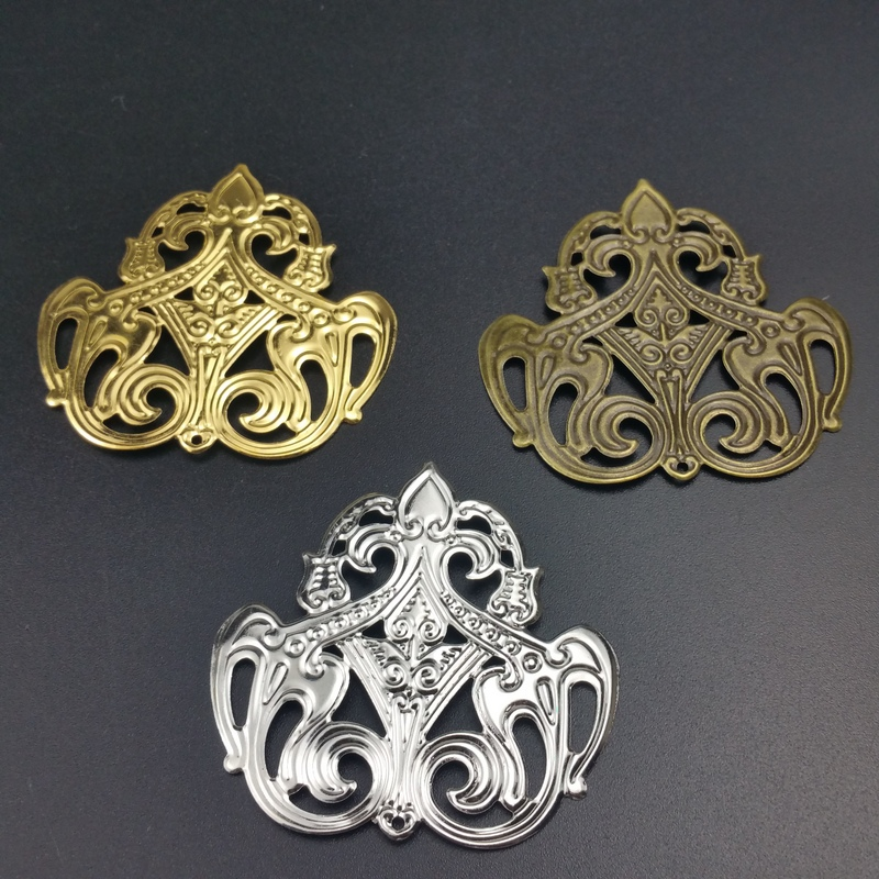 20Pcs/lot 48x50mm Filigree  Silk Flower  Wraps Connectors Embellishments Findings Wraps Connectors For DIY Jewelry Making