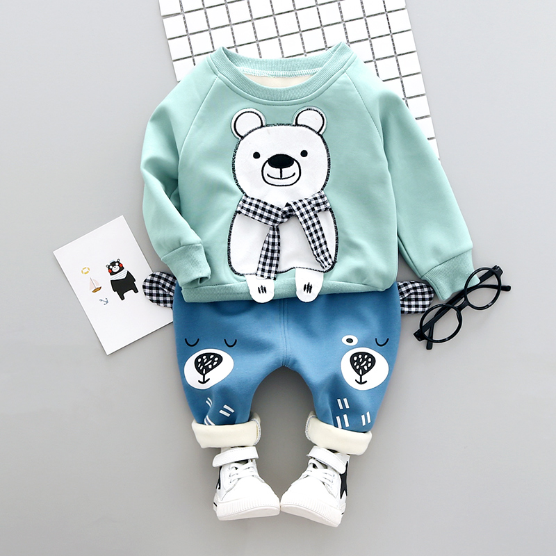 Baby Boy clothes Set Winter 1-3y New 2017 Fashion Style Cotton O-Neck full Sleeve with Bear Print Infant Children Set A012 2pcs set baby clothes set boy
