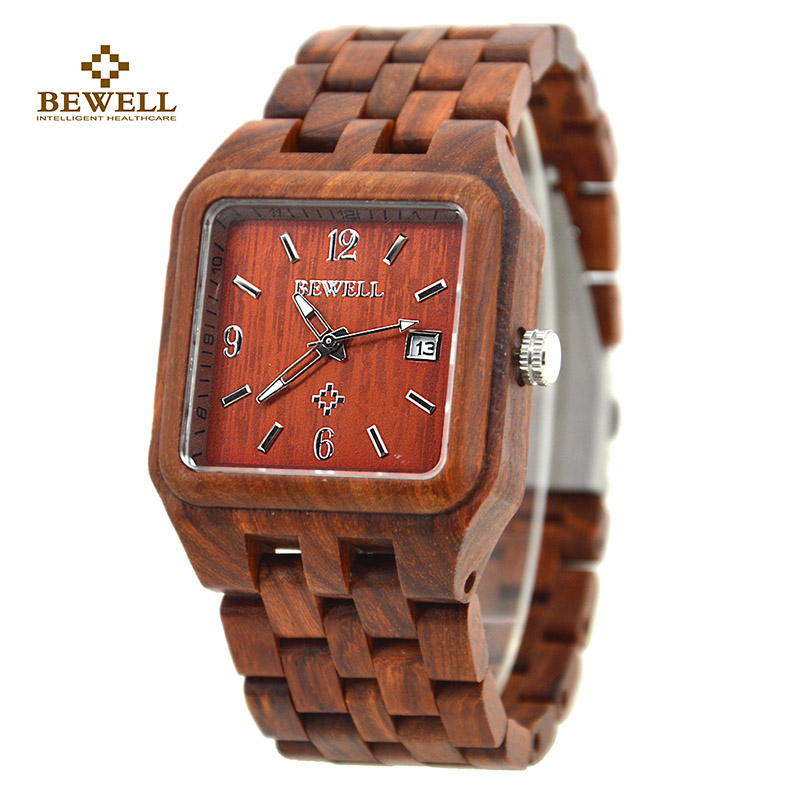 BEWELL Wood Men's Watches Square Dial Calendar Display Waterproof Male Wristwatch with Box for Your Family Friend A Gift 111A wood business watches with waterproof luminous clock bewell men wooden wristwatch for male watch your family christmas gift 146a