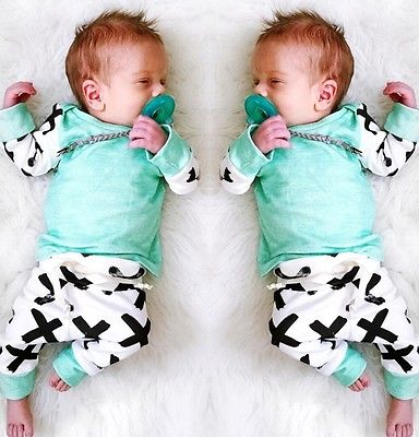 Newborn Baby Boys Girls Clothes T-shirt Tops+Pants Leggings Hat 3pcs Outfits Set 2017 Baby Set Hot Sale