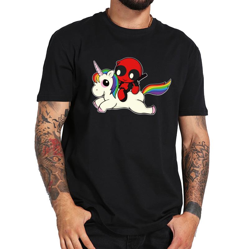Deadpool Camiseta Homme Algodão Rainbow Color Graphic Tee Impressão Unicórnio Bonito Anime Tshirt EUA Tamanho 100% Topos de Algodão