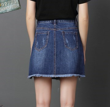 Les Taille Sexy Minijupe Grande Haute Bleu 4xl Mujer Coréen Jeans Déchiré Denim Faldas Jupes pu Adolescents Mignon Ciel Bleu Pour f7I7x8qP