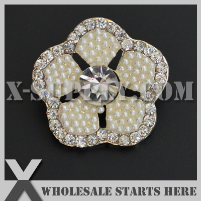 Acheter DHL Livraison Gratuite 26mm Métal Perle Bouton à Queue pour les Vêtements, Centre Fleur, Bandeau X7 MB1329 de pearl buttons fiable fournisseurs