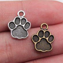 Wysiwyg 20 pçs 15x12mm 2 cores de metal pata do cão impressão pegada encantos pingente para colar pulseira jóias fazendo descobertas