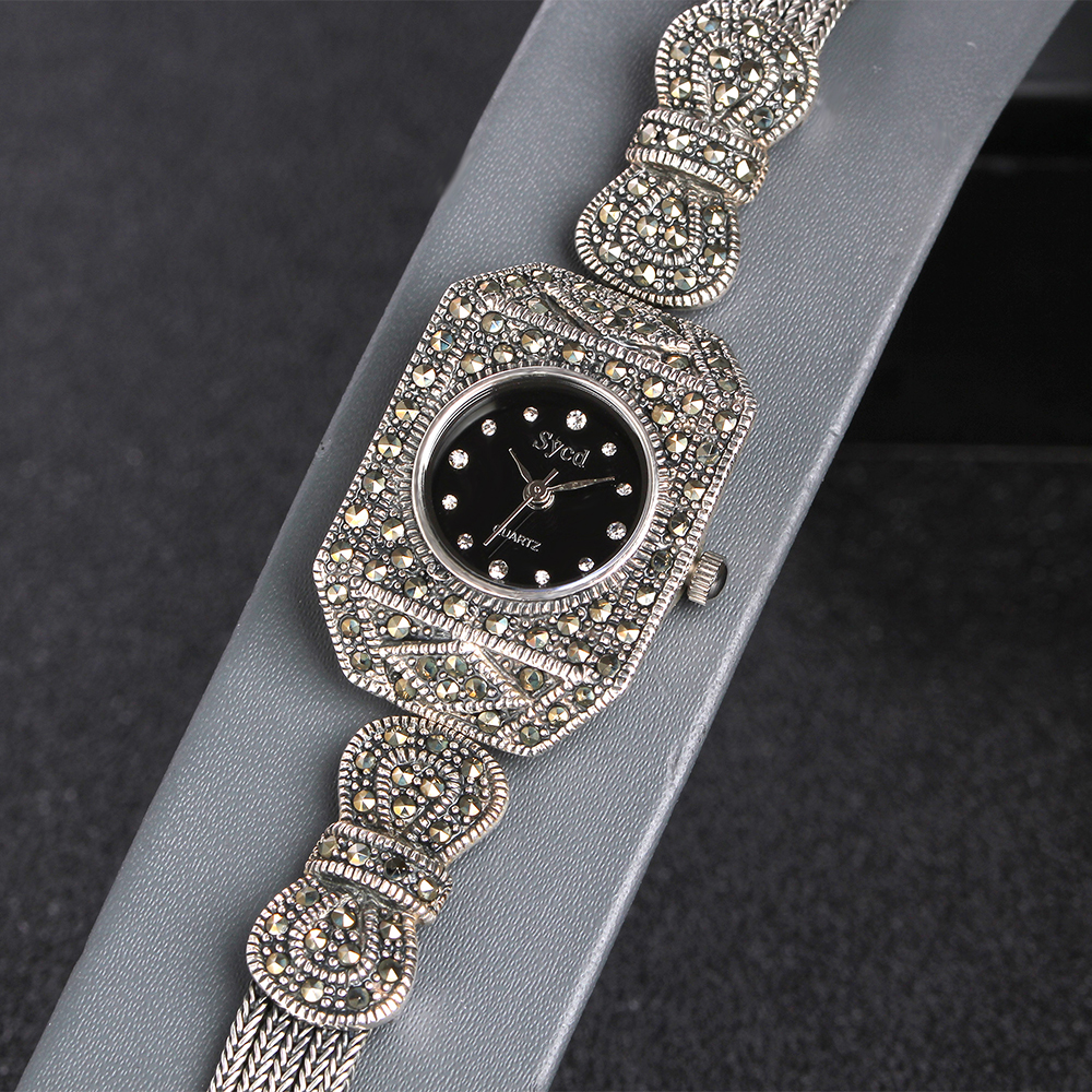 JIASHUNTAI Vintage 100% Silber 925 Uhr Für Frauen Retro 925 Sterling Silber Uhr Weibliche Armbänder Uhr Schmuck - 4