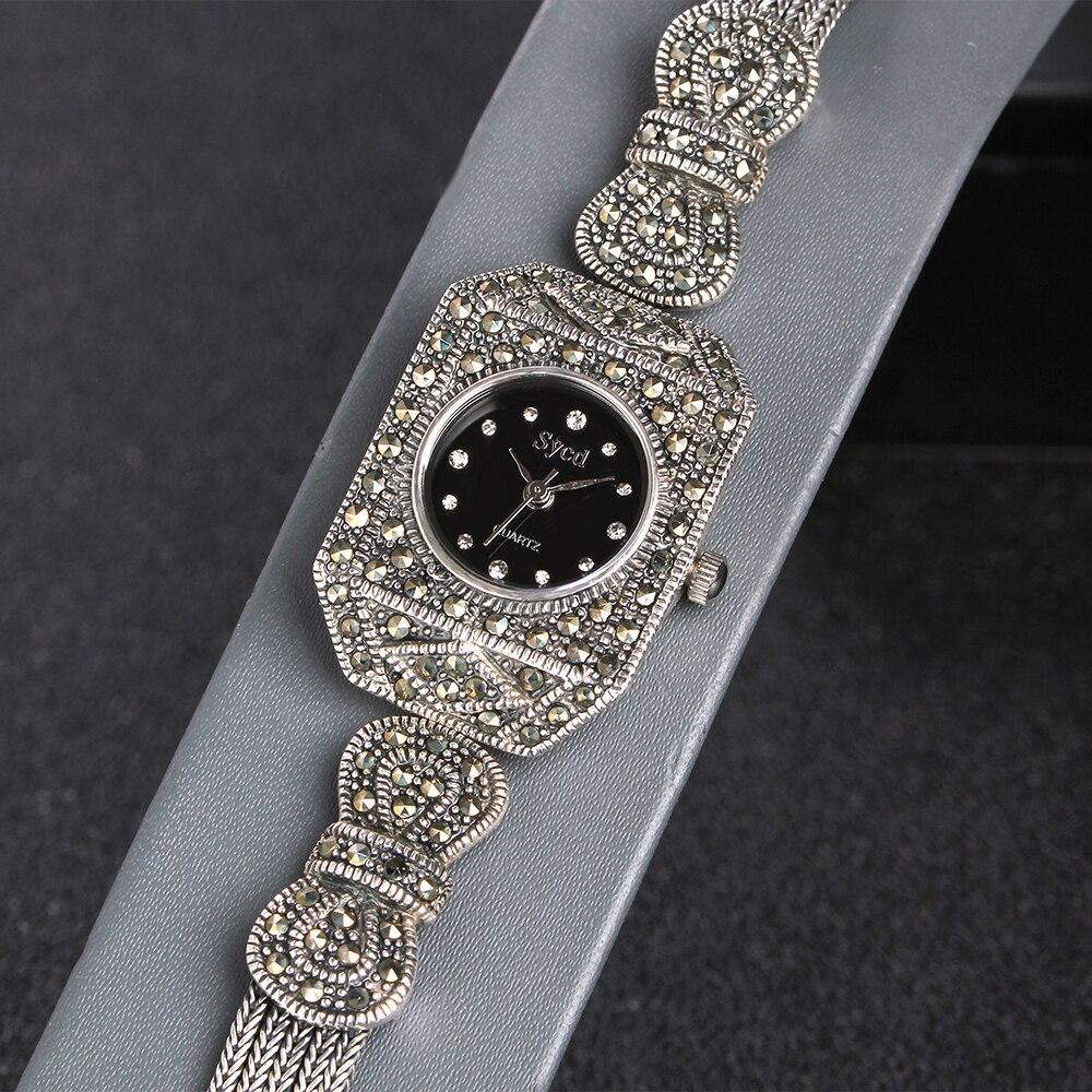 JIASHUNTAI Vintage 100% Zilver 925 Horloge Voor Vrouwen Retro 925 Sterling Zilveren Klok Vrouwelijke Armbanden Horloge Sieraden - 4