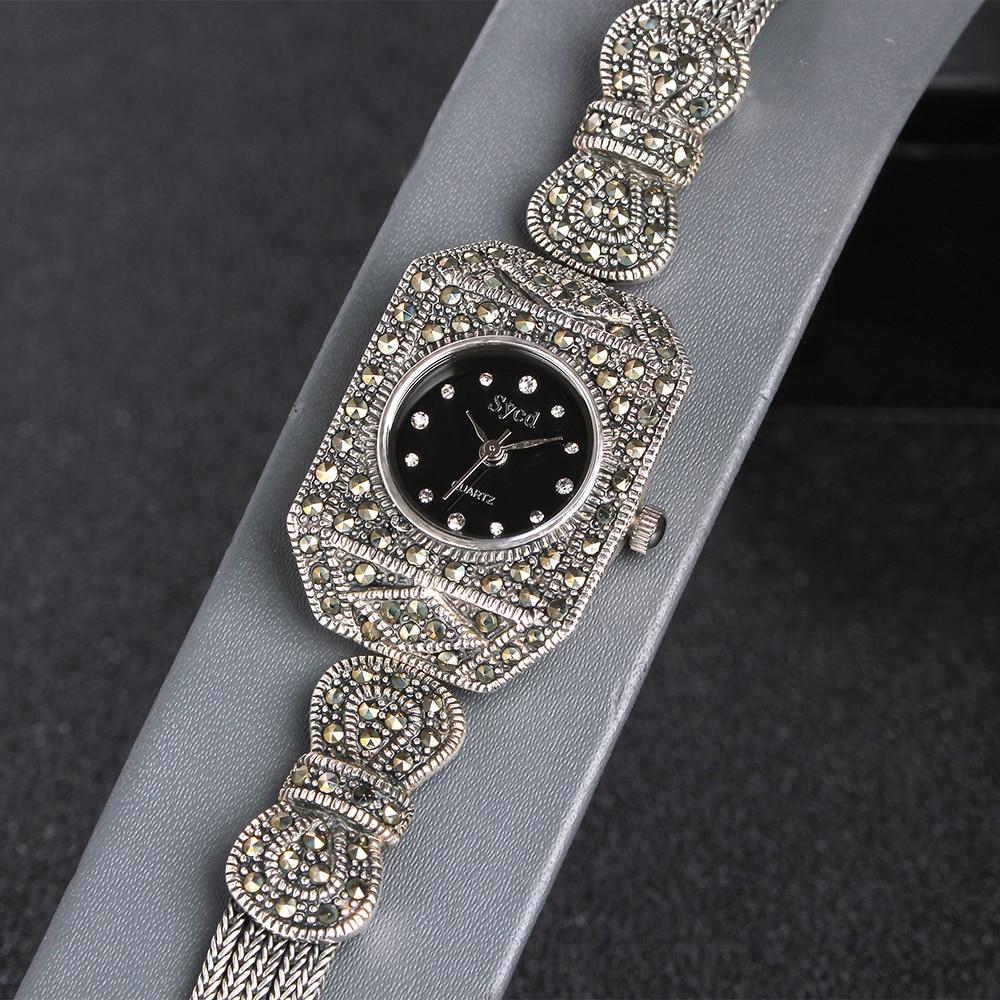 JIASHUNTAI Vintage 100% reloj de plata 925 para mujer Retro 925 reloj de plata de ley para mujer reloj de joyería - 4