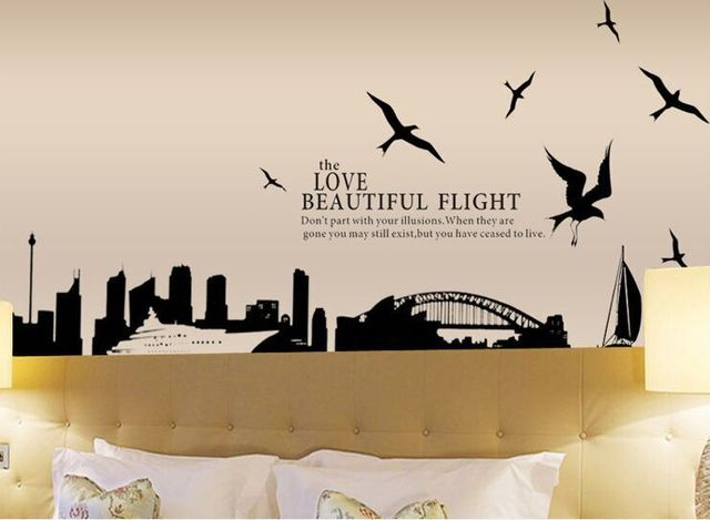 Ay1912 big city silhouette of sydney bridge decal vinyl wall stickers pvc decor removable diy home