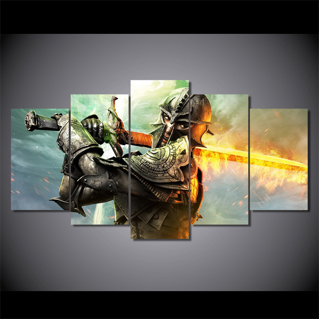 5 Pieces Framework Hd Prints Paintings Pictures Dragon Age Inquisition Group Canvas Poster Living Room Home Decor Wall Art