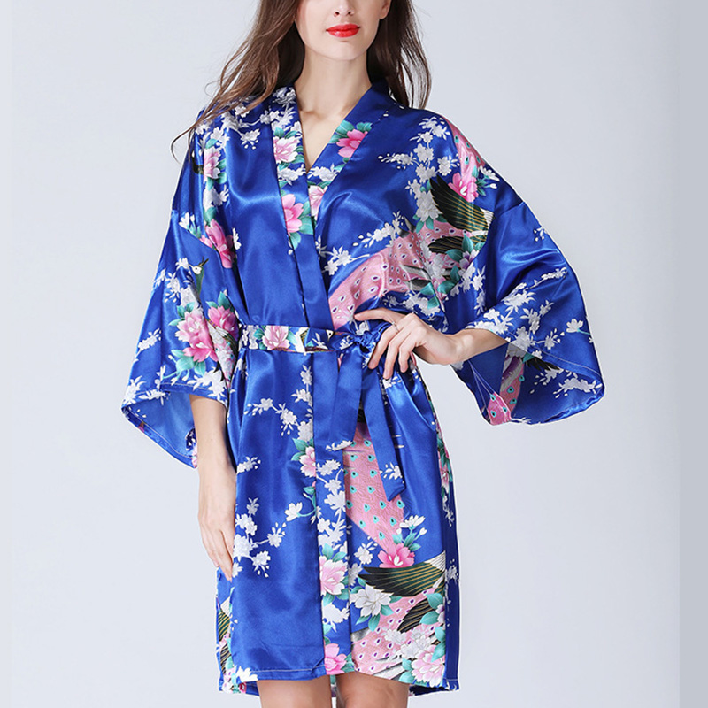 Woman Loose Style Pajamas Home Sleepwear Lace Up Floral Print V-neck Night Gown Kimono Yukata Robe Nightgown