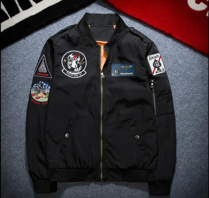 Flight jacket Tide embroidery baseball service MA-1 pilot jacket motorcycle coat men and women tooling spring tide