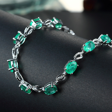 2019 New Silver Chain Bracelet with Green Zircon Stone for Women Bracelet Bangle Fashion Jewelry free shipping 57mm certified grade a natural green stone stone gems bracelet bangle 043447 new