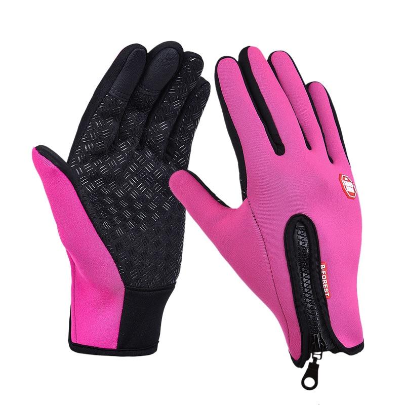 Унисекс тачскрин зима Тепловая Теплая велосипедная Лыжная уличная походная мотоциклетная перчатки спортивный с полными пальцами - Цвет: Hot Pink
