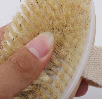Escova seca do corpo Cerda de javali natural Pele seca orgânica Escova corporal Bambu Molhado Voltar Escovas de banho Escova de banho esfoliante 1