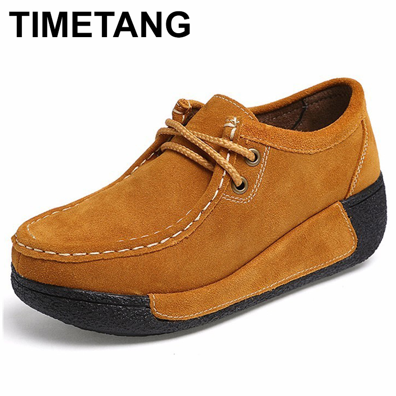 TIMETANG Genuine   Suede     Leather   Women's Platform Flat Shoes 2018 Lace Up Platform Women Moccasins Creepers Woman C236