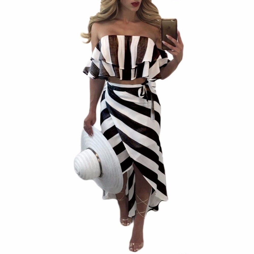 Sedrinuo Cascading Ruffle Striped off Shoulder Sleeveless Beach Wear Two Piece Summer Dress 2018 Casual Bodycon Beach Dresses 3