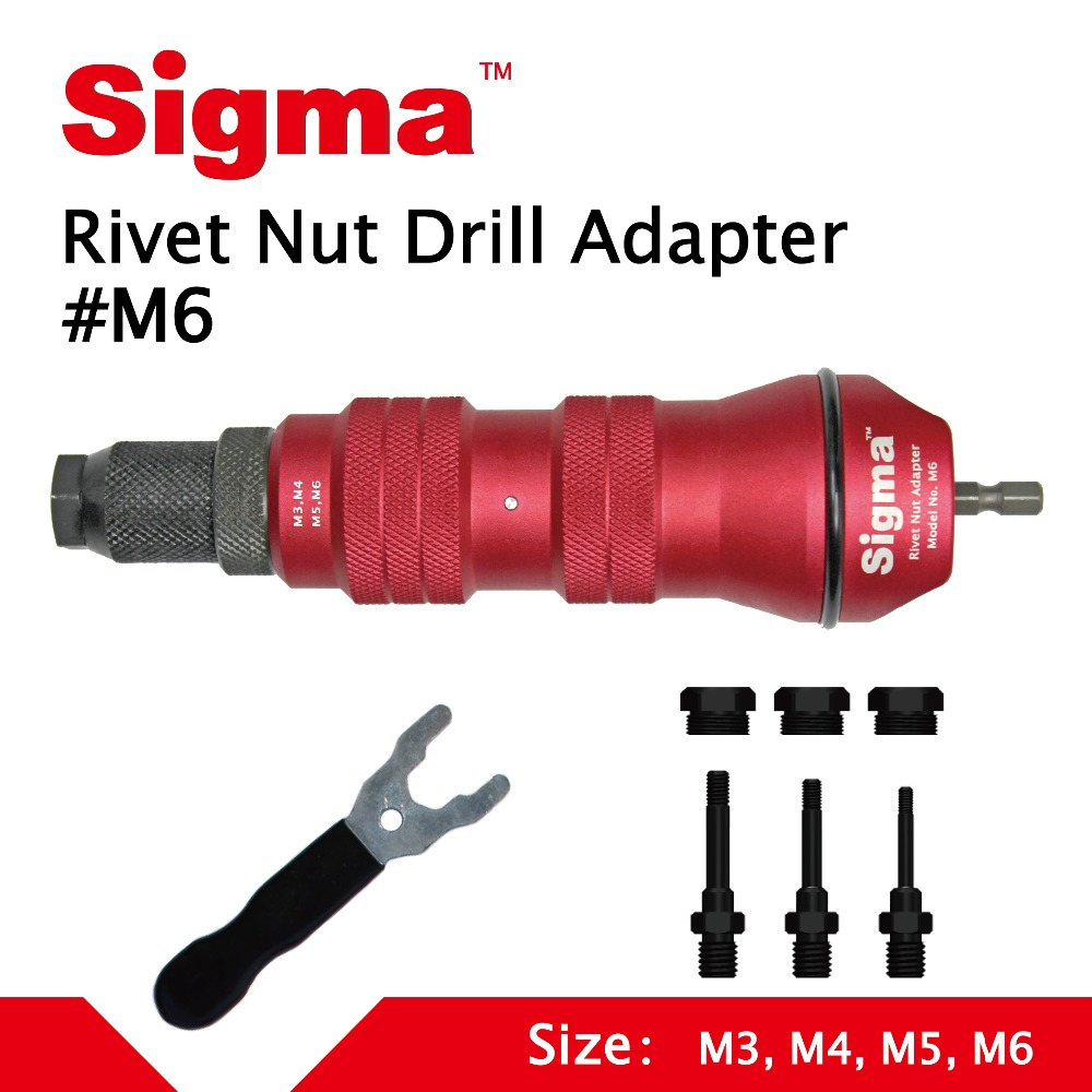 Sigma #M6 Threaded Rivet Nut Drill Adapter Cordless Or Electric Power Tool Accessory Alternative Air Pneumatic Rivet Nut Gun