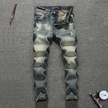 Italian Vintage Style Men Jeans Slim Fit Retro Wash Ripped Jeans Men Denim Hip Hop Pants Fashion Streetwear Classical Jeans Male