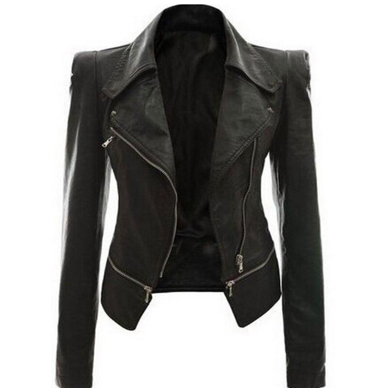 2018 abrigo chaqueta caliente mujer invierno otoño moda motocicleta chaqueta negro imitación cuero abrigos prendas de abrigo Dropshipping