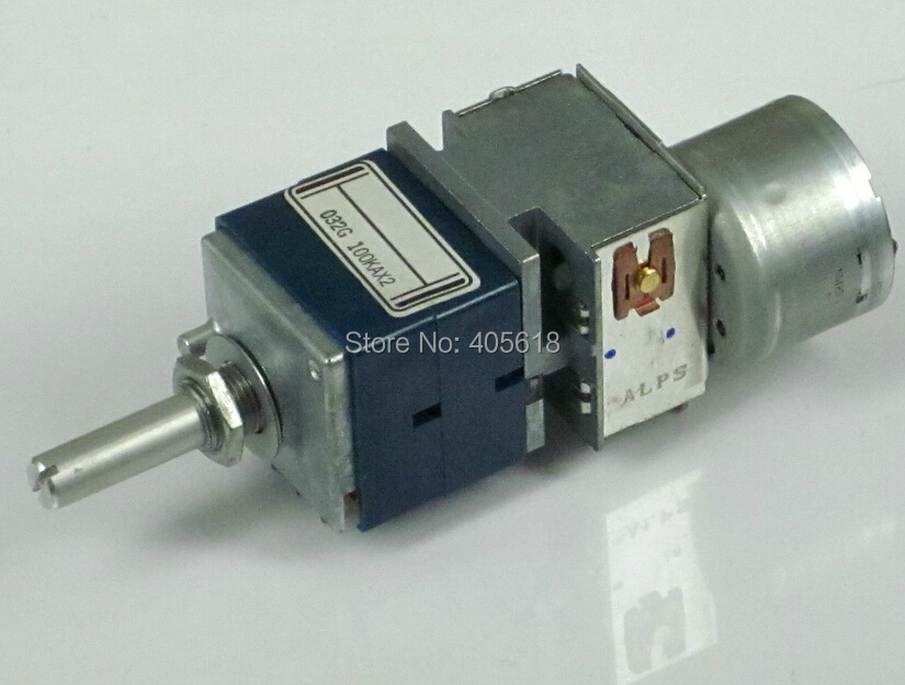 Japan ALPS 100KAX2 Motorized Volume Potentiometer RK27 Dual 100K Rounded handle