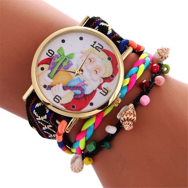 2017 Fashion Christmas Watches Women Santa Pattern Quartz Watch Leather Strap br