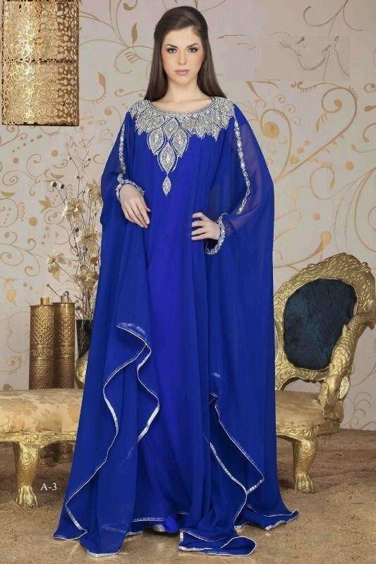 2015 Luxurious Elegant Long Arabic Evening Dresses Royal Blue Scoop Beading Chiffon Dubai Abaya Kaftan robe Sleeves - FAERIE store