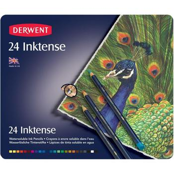24 Pcs/Set Derwent Inktense 24 Pencils Tin Set-Soluble Pencil for Painting rotulador