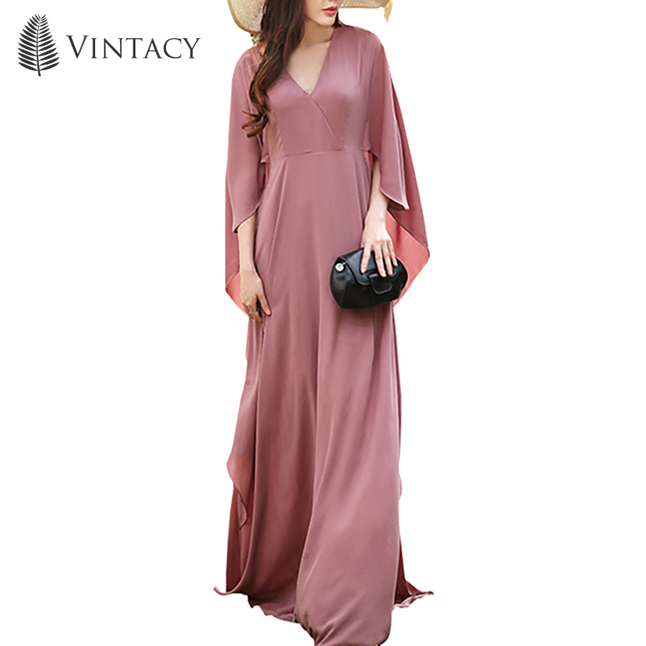 Women Holiday Long Dress Batwing Sleeve Floor Length Elegant Travel Sun Dress V-Neck Dark Vacation Pink Plain Loose Maxi Dress