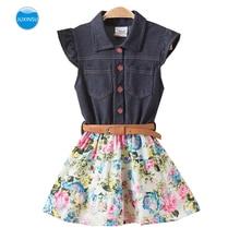 JUXINSU Girl Sleeveless Denim Dresses for Summer Baby Kids Cotton Flower Dress 1-8 Years